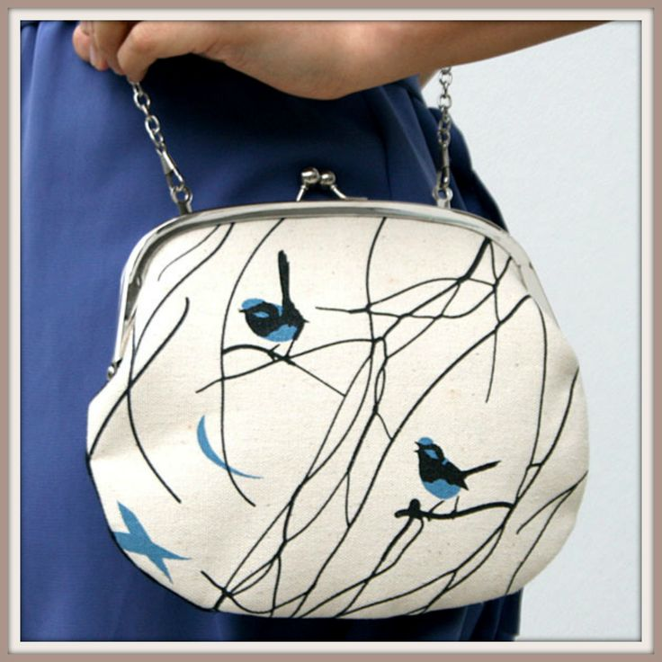 $54.95 Gorgeous Retro Snap Purse With Chain - mamaterial  Australian Designed, Hand Screen Printed.
