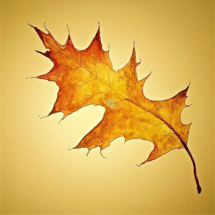 herfstblad geschilderd door Brechtje Duijzer