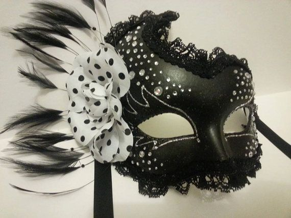 Black Masquerade mask with polkadot rose by MasksbyDebbsElliman, £38.00