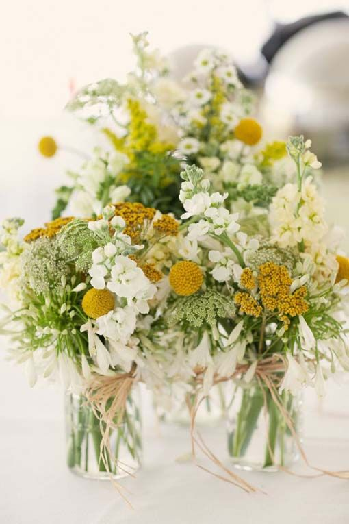Wedding Decorations, Outdoor Spring Wedding Yellow White Wedding Flower Centerpieces: Yellow Rustic Real Wedding