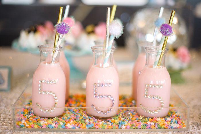 Jeweled milk bottles from a Geometrical Magical Unicorn Party on Kara's Party Ideas | KarasPartyIdeas.com (26)