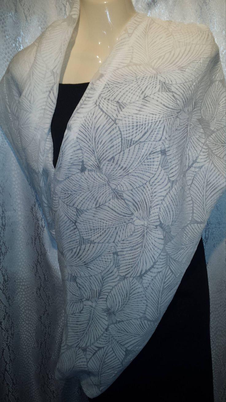 White leaf scarf by Scarfgoroundboutique on Etsy