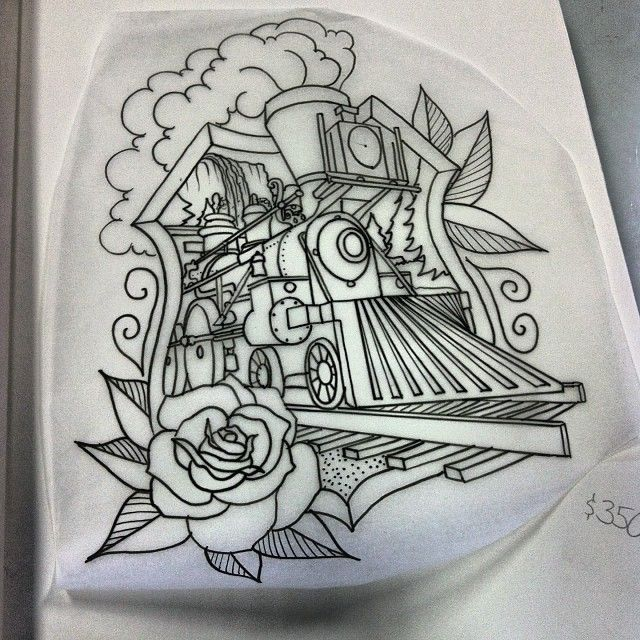 Steam Locomotive. Up-For-Grabs. Lmk. Text/Call me. #tattoos #traintattoos #traditionaltattoos  @chapterxtattoo