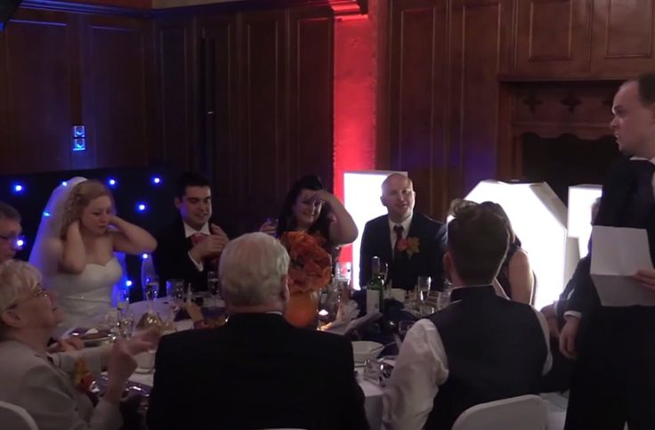 Best man's wedding speech catches fire and it's all caught on camera