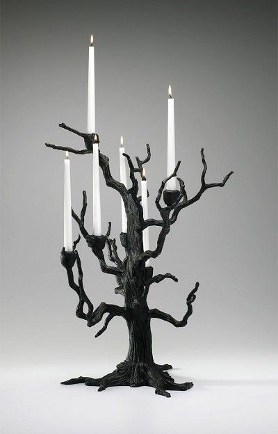 Rustic Carved Sculpted Iron Tree 6 Arm Candleholder …