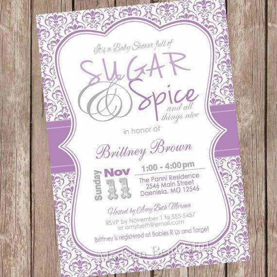Girl Damask Sugar and spice girl baby shower invitation, purple, grey, gray, damask baby shower, damask invitation, digital file, printable