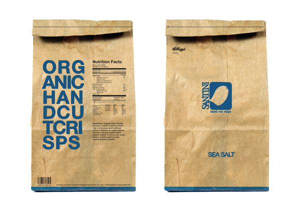 Henry Luong - Unusual organic crisp packaging that is designed to resemble a bag or sack of potatoes. Perhaps I could examine the packaging angle later?