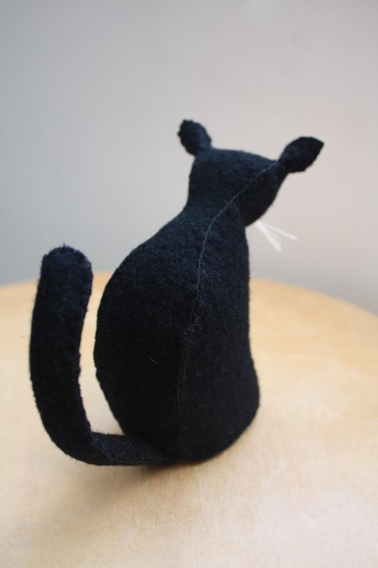 Stuffed black felt cat from Etsy. Sold.
