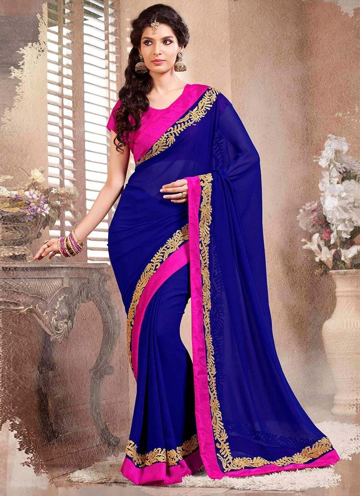 Give remarkable trendy touch & style with awe on the lips with this blue faux georgette party wear saree. This smoldering outfit enriched with embroidered, patch border work and thread work and it's b...