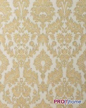 EDEM 708-30 Barok behang structuur vinylbehang damast behang wit goud platina