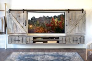 Farmhouse Rustic Wood Floating TV Stand Entertainment Center – Spice
