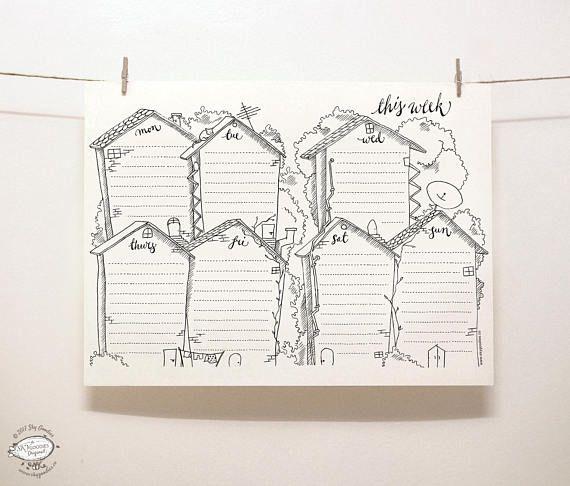 DOODLE Perpetual Weekly Planner: Cottages / Organizer | Printable Letter Size pdf template | Unique Creative Artistic Management Reminder