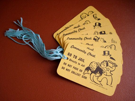 Monopoly Community Chest  Recycled Gift Tags by ChaosToArt on Etsy, $4.00