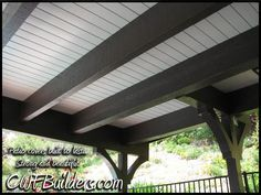 """paint underside of deck to make a patio """"roof"""" (they used tongue and groove boards)"""