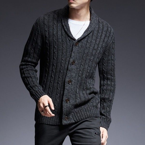 Mens V-Neck Knitted Button Cardigan Slim Sweater Casual Knitwear Jacket Outwear