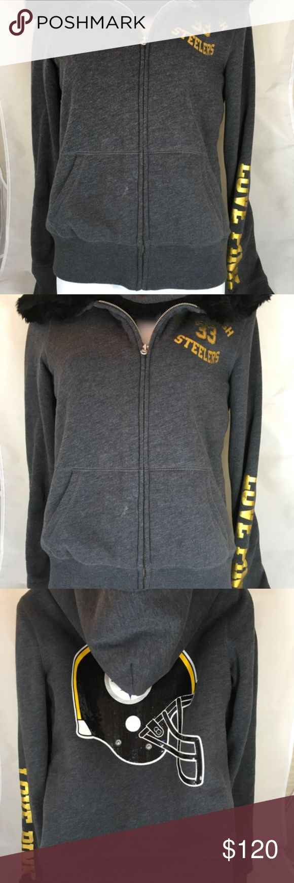 Victoria's Secret PINK NFL Bling FUR Hoodie Victoria's Secret PINK NFL Collection Pittsburgh Steelers Faux-Fur Lined Bling Zip Hoodie in Grey Size Small Limited Edition!! Only worn a few times, in Like New Condition!! Perfect for Playoffs!! PINK Victoria's Secret Tops Sweatshirts & Hoodies