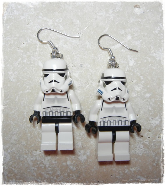 E Lego Star Wars Storm Trooper Earrings Full by EVILandENCHANTED, $30.00