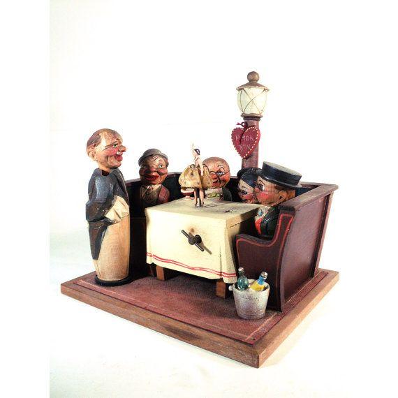 Vintage Musical Carved Amor Italian Bar Set, ANRI, Figural Corkscrew Bottle Opener Stoppper, Wind-up Music Box