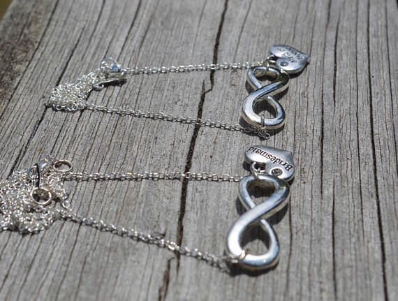 Infinity bridesmaids maid of honor necklace eternity