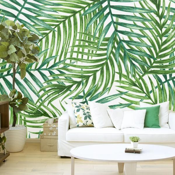 Tropical palm leaves removable wallpaper