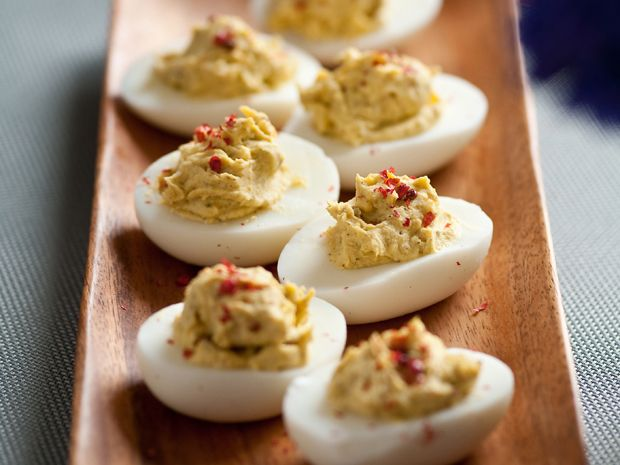 Get this all-star, easy-to-follow 4-Pepper Deviled Eggs recipe from Alton Brown.