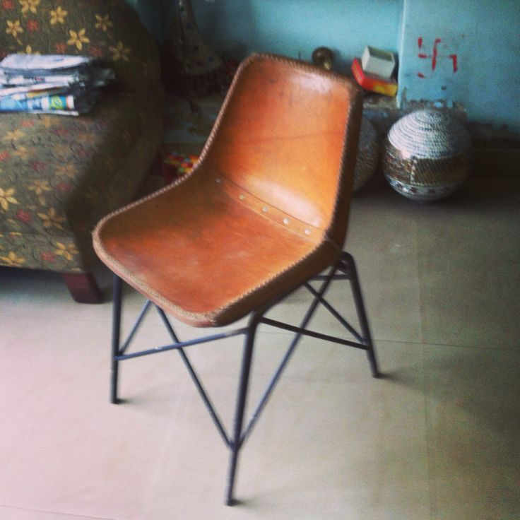 Slim leather chair.