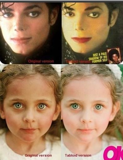 @MJJJusticePrjct: RT SEE how Tabloid manipulated skin tones of Michael Jackson?  HIs daughter Paris? WHY DO YOU THINK THEY DID THIS?