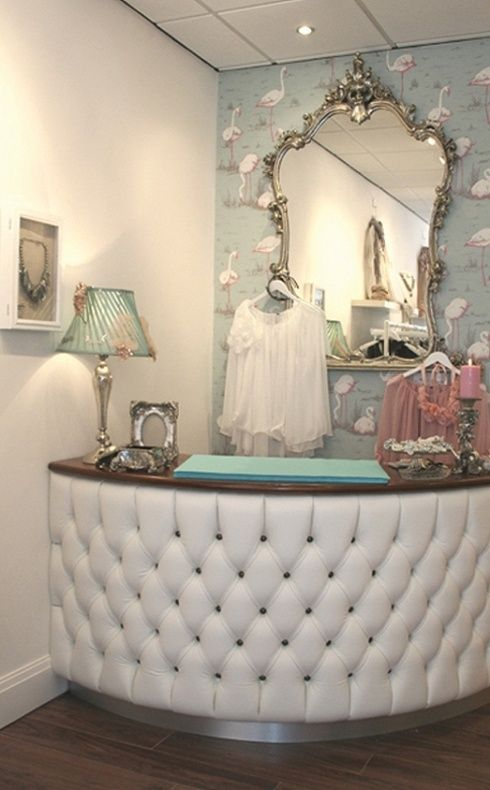 industrial glam boutique idea- love the tufting for the checkout counter