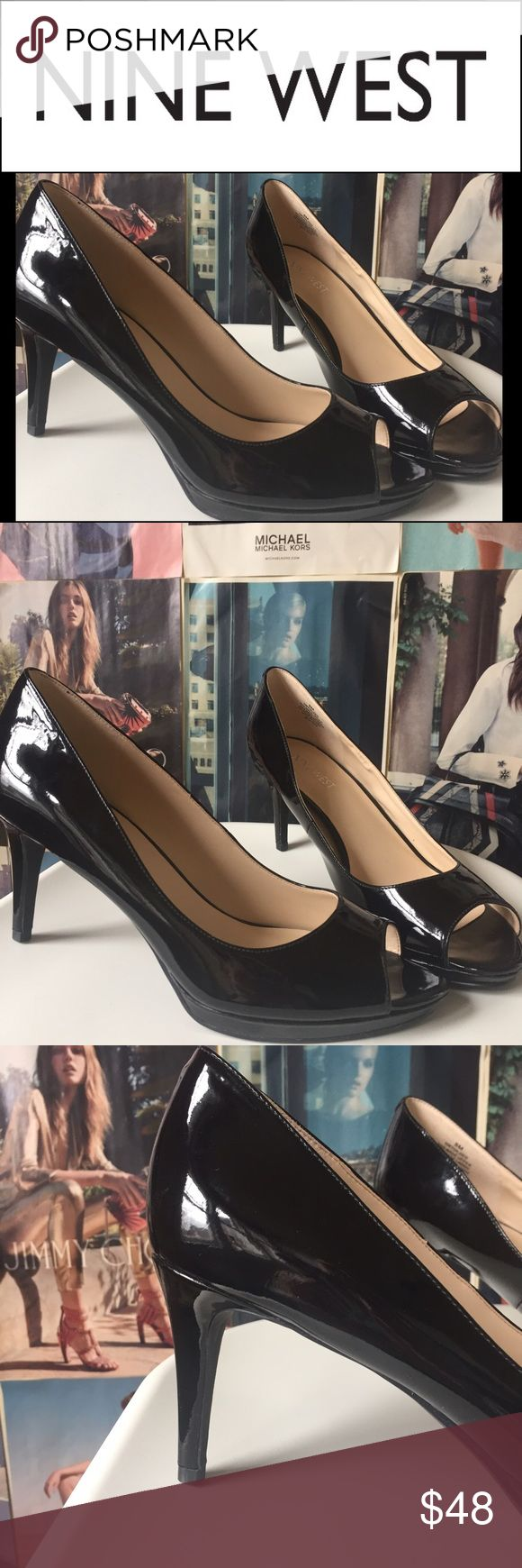 "NEWNine West | black Gilded peep toe pump NIB The perfect shoe, really! These Nine West Gilded peep toe pumps are wearable both as a comfortable shoe and as a classic that goes with anything. 8M. Heel 3"", platform 1/2"". Patent look. Man made. NIB. Nine West Shoes Heels"