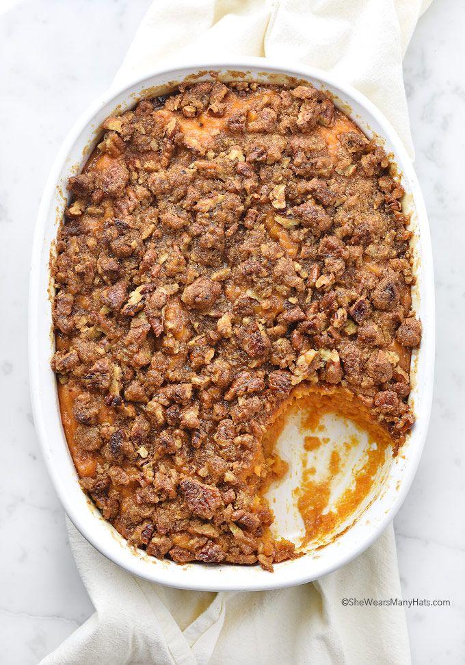 Sweet Potato Casserole Recipe with Pecan Topping   shewearsmanyhats.com