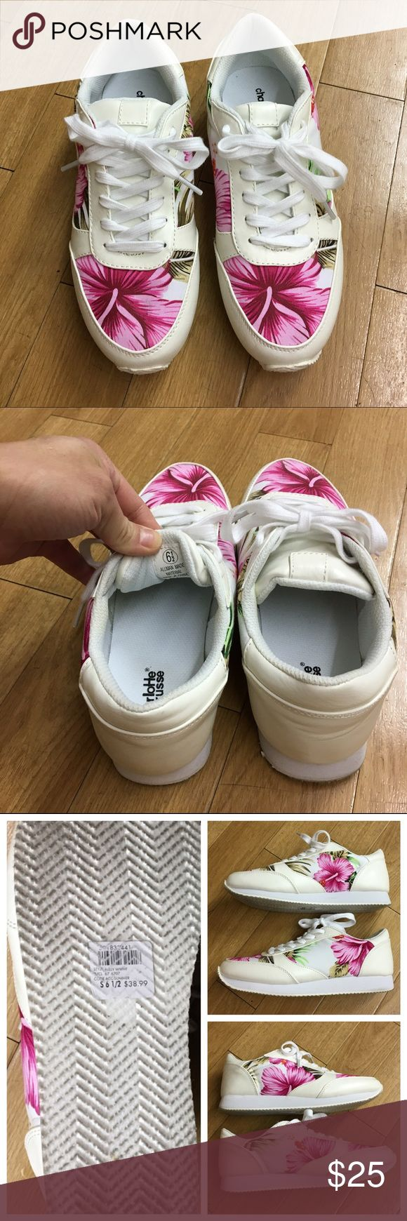 CHARLOTTE RUSSE Hawaiian sneakers CHARLOTTE RUSSE white Hawaiian print sneakers | only worn once for an hour) | size 6.5 | bought for $38.99 (price tag still on bottom of shoe) | such cute and comfy fashionable sneakers! Charlotte Russe Shoes Sneakers