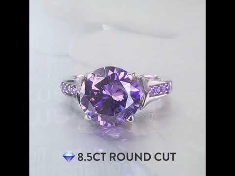 8772b2991e47a Lilac Flower Brilliant Cut Amethyst Engagement Ring Rhodium Plating ...