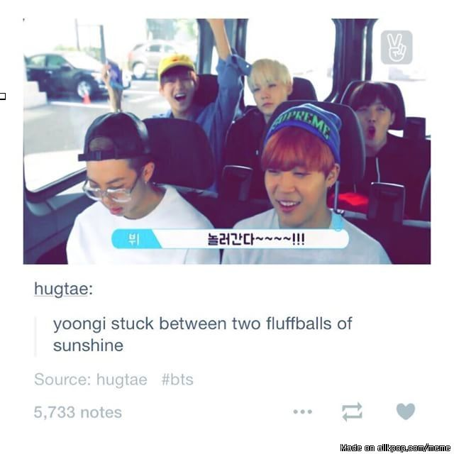 V and J-Hope = fluffballs of sunshine. And Suga is ready to kill someone. Lol