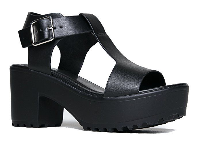 e8f4ef62ba ZooShoo Chunky Wide T-Strap Platform Heel Sandal 6.5 | Fashion ...
