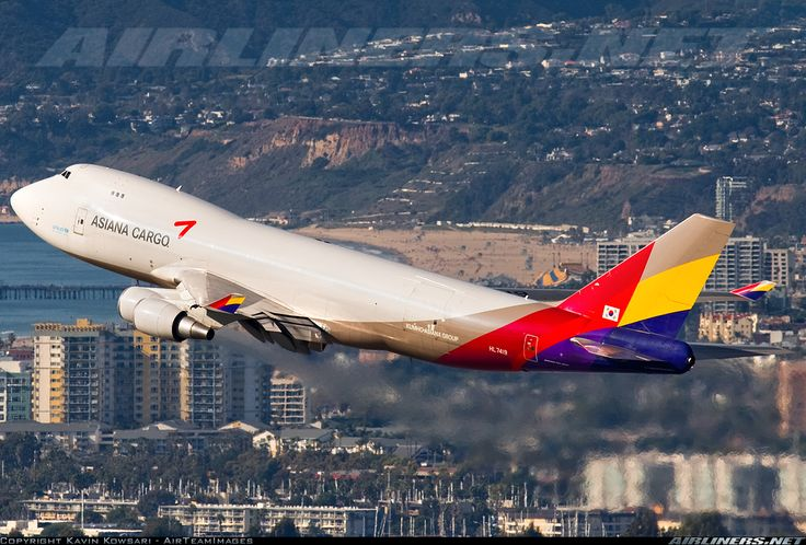 Boeing 747-48EF/SCD from Asiana Airlines Cargo taking off from Los Angeles Intl. Airport.