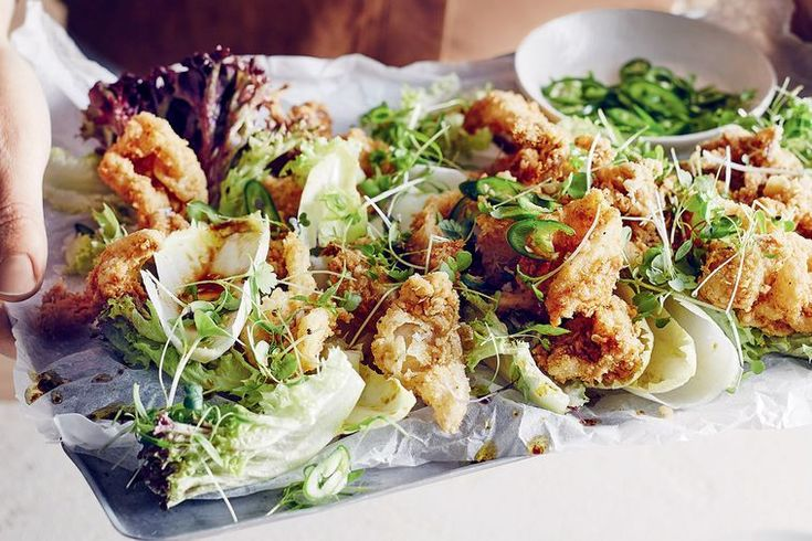 Crispy squid salad