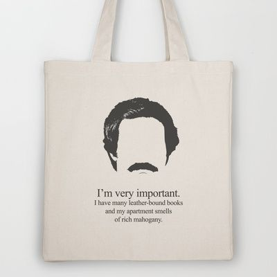 Ron Burgundy Tote Bag by OurbrokenHouse - $18.00