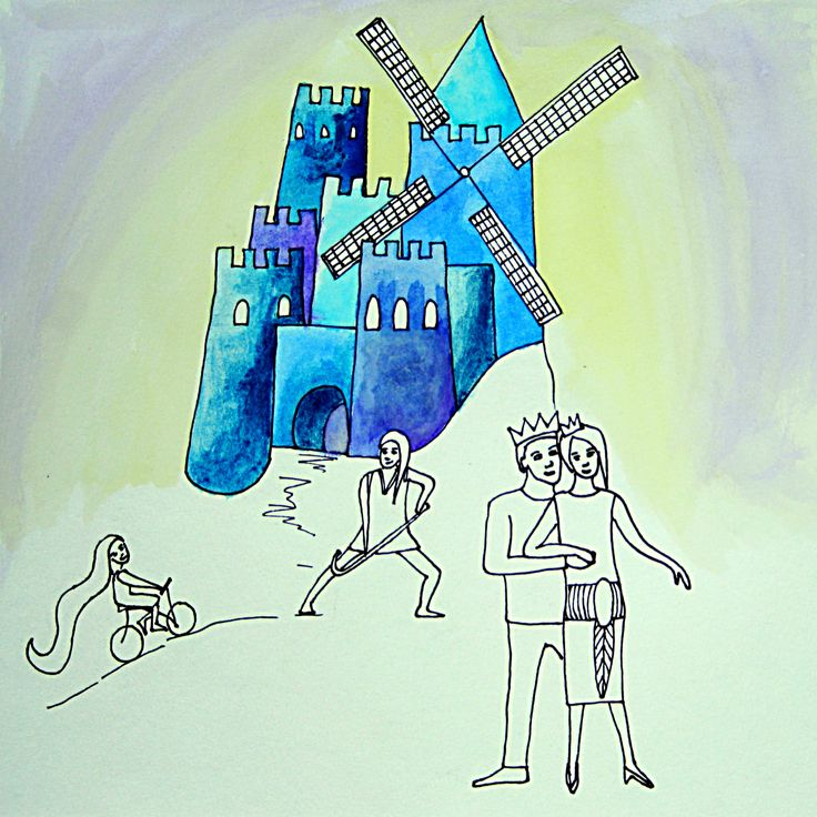 """Book """"A different kind of Neverland"""" by Dieuwke Twyerould. About the illustration: """"...their estate was a... uh... a windmill!"""""""