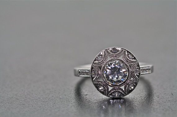 New vintage 14K white gold and diamons by MasterPieceJewelers