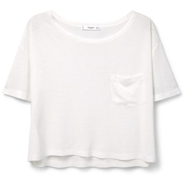 MANGO Pocket T-Shirt (£14) ❤ liked on Polyvore featuring tops, t-shirts, crop tops, shirts, white short sleeve shirt, short sleeve t shirt, crop top, white pocket t shirts and pocket shirt