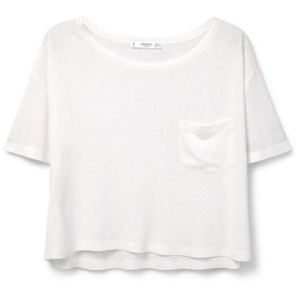 MANGO Pocket T-Shirt ($20) ❤ liked on Polyvore featuring tops, t-shirts, shirts, crop tops, white crop top, t shirts, pocket shirt, crop top and white short sleeve shirt