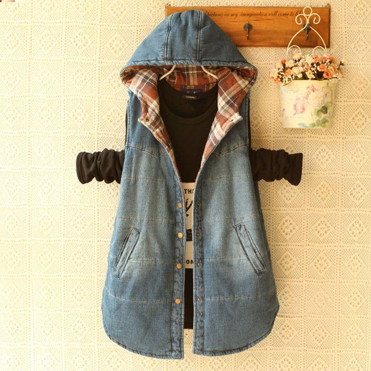 Женщин зимой теплый Большой размер с капюшоном джинсовый жилет дамская свободного покроя большой размер плед толстые жилет женский бесплатная доставка купить на AliExpress