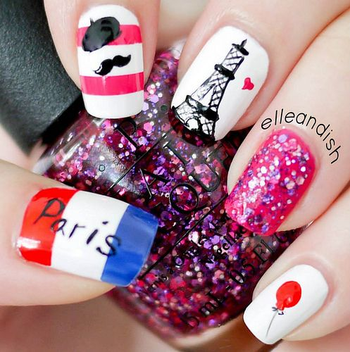 Paris Nails - I accidentally reversed the flag colors, it's BLUE-WHITE-RED, my sincere apologies!  // elleandish