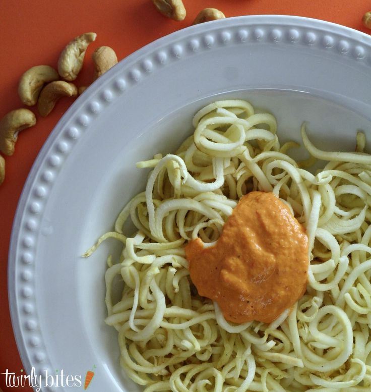 Creamy Roasted Red Pepper Cashew Sauce with Spiralized Parsnip Noodles on Twirly Bites http://www.twirlybites.com/roasted-red-pepper-cashew-sauce/