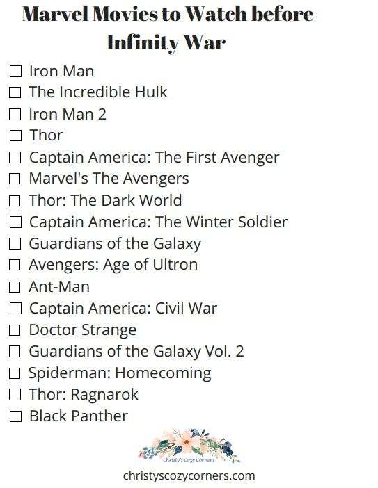 If you are a Marvel movie fan like I am, you are anxiously awaiting May 4th. That's the day INFINITY WAR opens in the United States. So what are we supposed to do in the meantime? I've got the answer. Here are the movies to watch before INFINITY WAR. If you watch one movie a week, you'll be all set for May 4th.