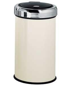 50 Litre Touch Top Kitchen Bin - Cream.