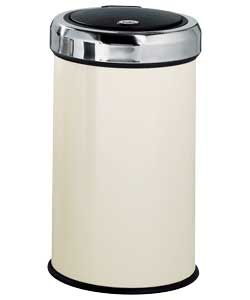 Stainless Steel 50 Litre Touch Top Kitchen Bin - Cream.