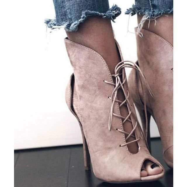 Lace-up nude bootie