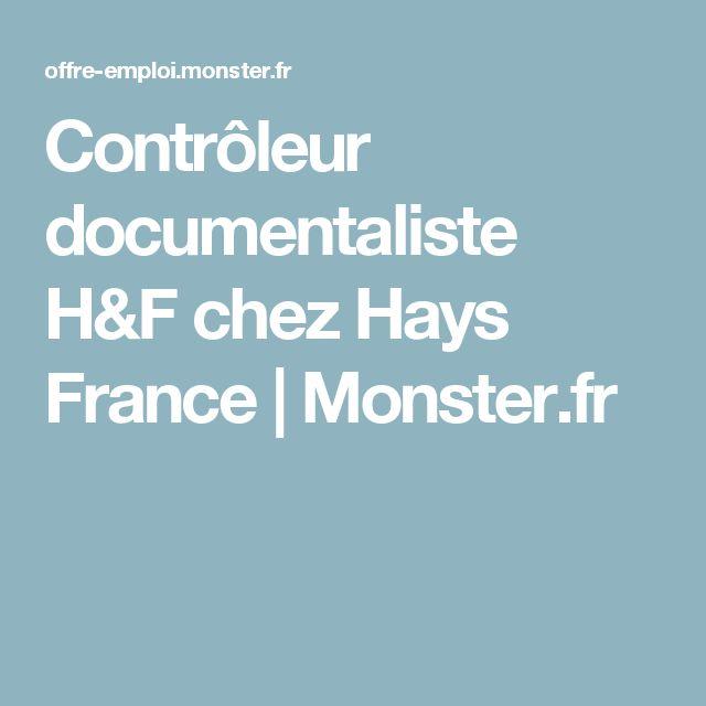 Contrôleur documentaliste H&F chez Hays France   Monster.fr