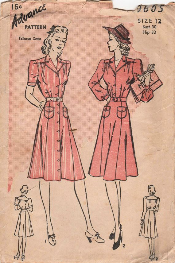 1930s Advance 9605 Vintage Sewing Pattern Misses by midvalecottage, $18.00